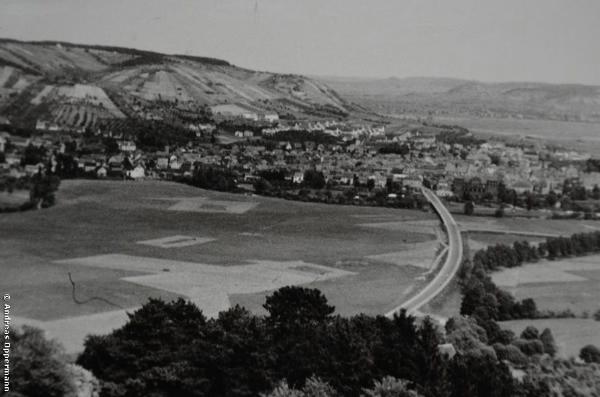 Blick von Schloss Saaleck auf Hammelburg um 1960