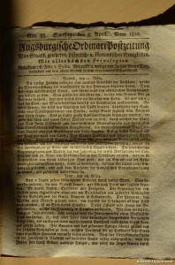 Augsburgische Ordinari Postzeitung vom 8. April 1820