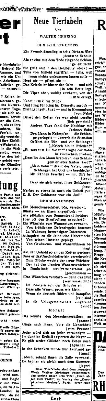 """Neue Tierfabeln von Walter Mehring - Faksimile aus dem """"Pariser Tagblatt"""", Nummer 502 / 3. Jahrgang"""