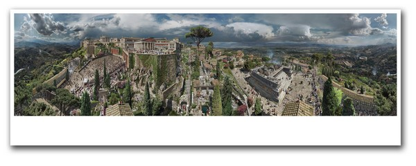 Das Pergamon-Panorama in der ausgerollten Ansicht. Es stellt die Stadt in der Regierungszeit des Kaisers Hadrian dar. Foto: Asisi