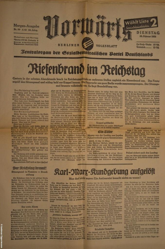 Vorwärts vom 28. Februar 1933