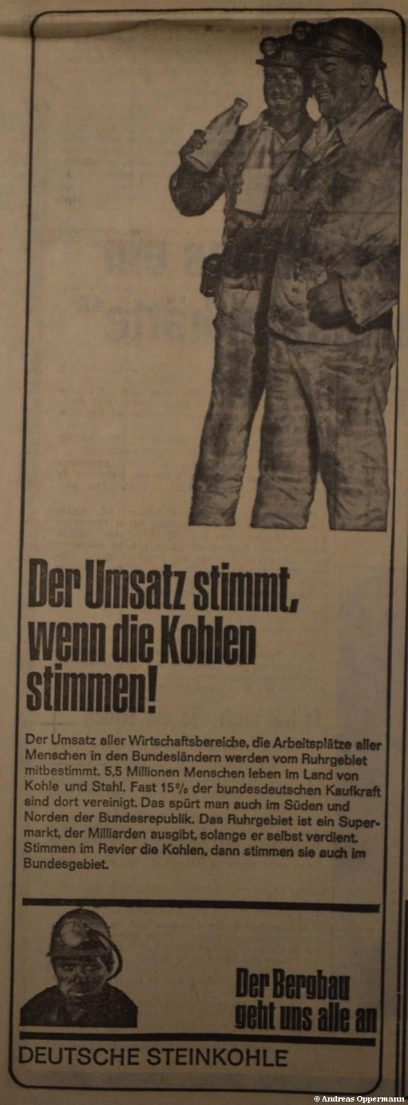 """Anzeige für die Deutsche Steinkohle in der """"Bild"""" vom 20. April 1967"""