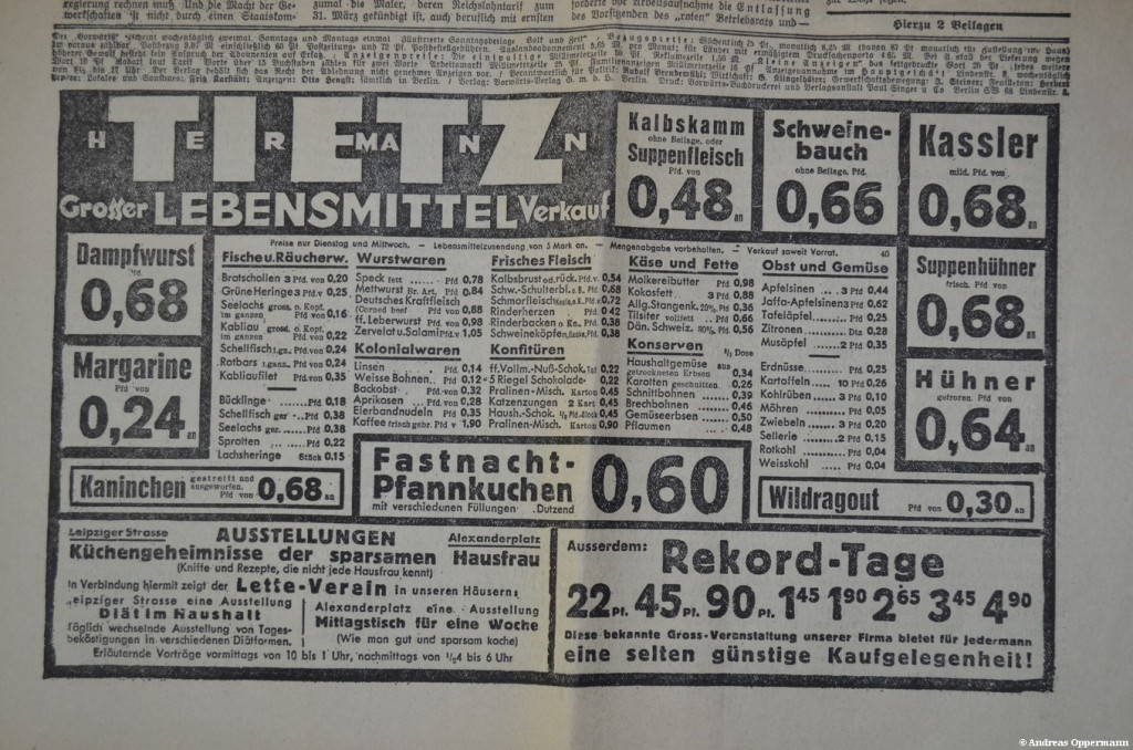 Anzeige aus dem Vorwärts vom 28. Februar 1933