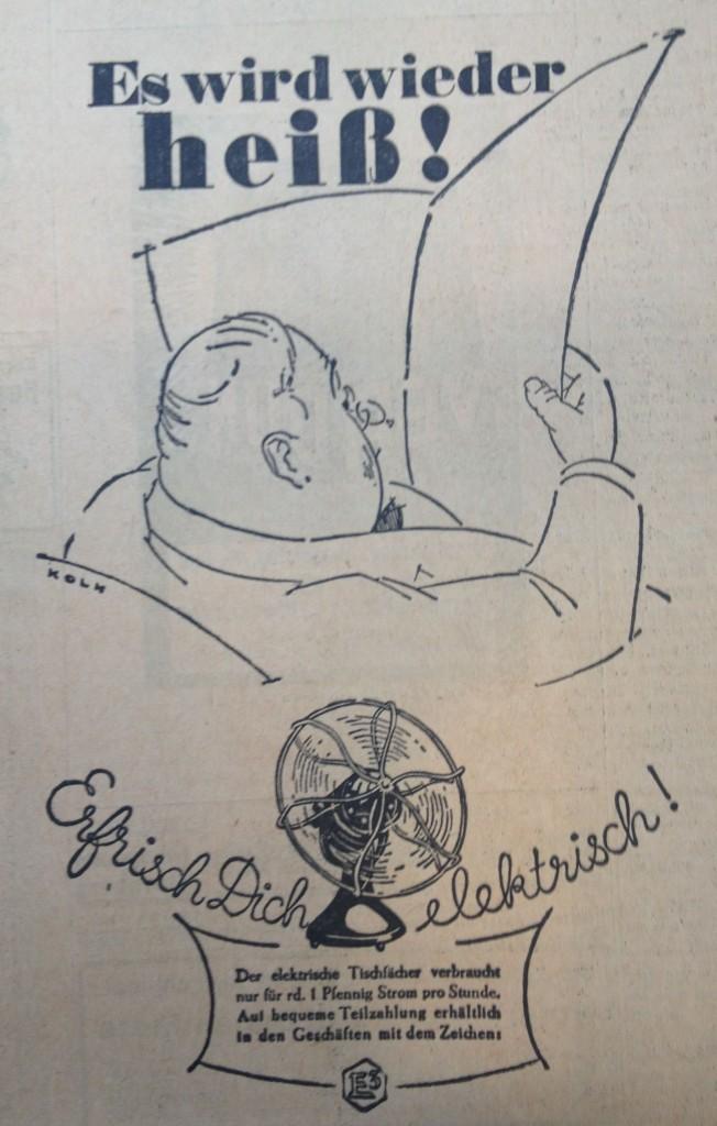 Anzeige für Ventilatoren aus dem Jahr 1928