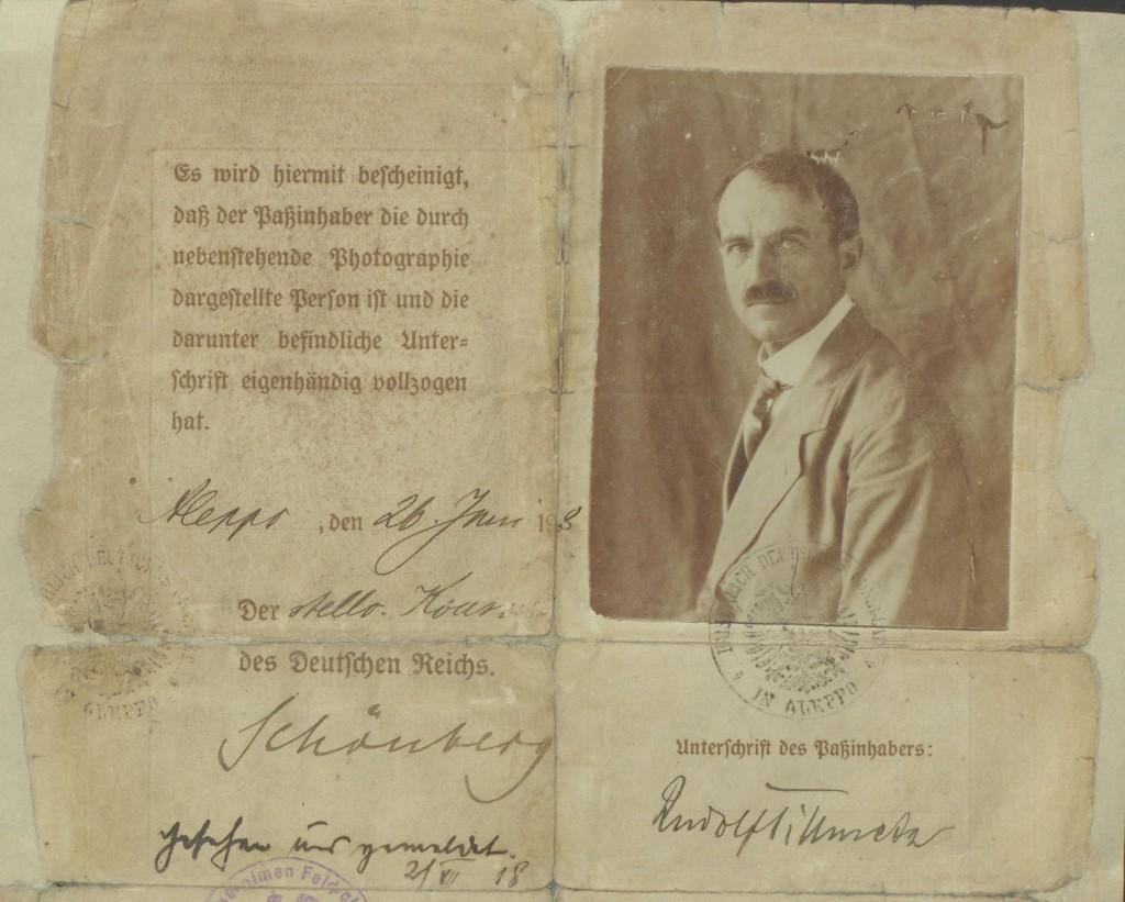 Pass von Rudolf Tillmetz, ausgestellt vom Konsulat in Aleppo.