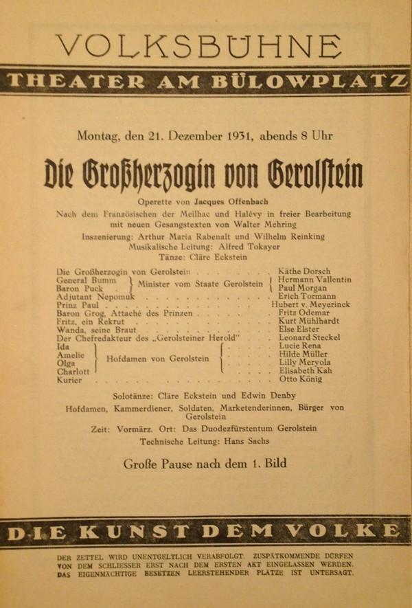"""Theaterzettel der Aufführung der """"Großherzogin von Gerolstein"""" vom 21. Dezember 1931"""