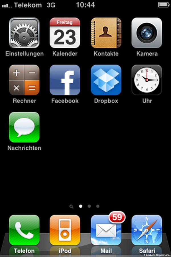 Statisch sieht die iPhone-Oberfläche ganz normal aus.